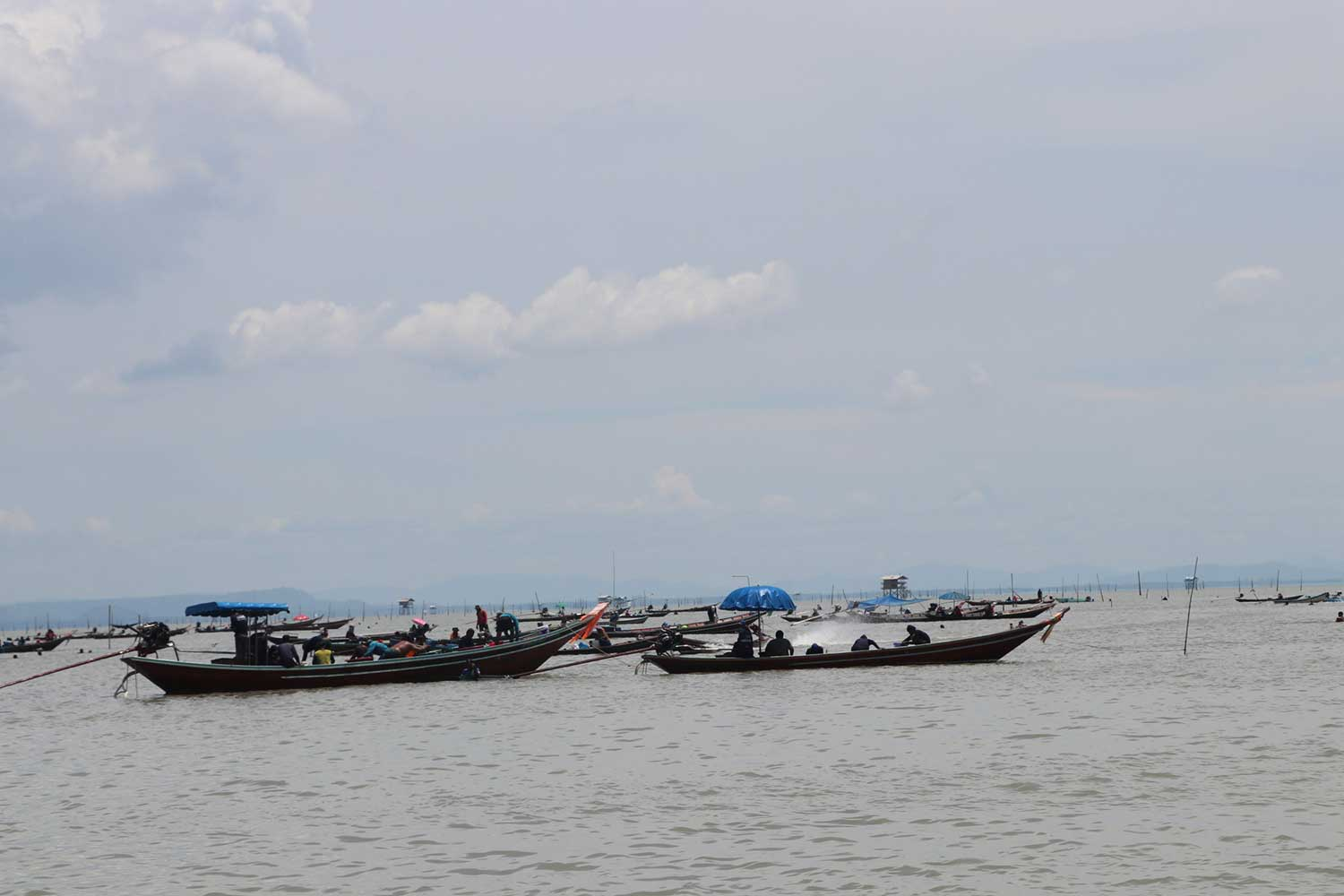 Cockle farmers on board more than 100 longtailed boats guard their compounds in the sea off the coast of Phunphin district in Surat Thani to prevent intrusion by small-scale fishermen on Saturday. (Photo: Supapong Chaolan)