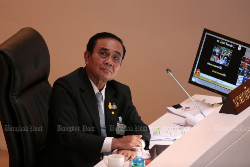 Prime Minister Prayut Chan-o-cha attends a budget bill debate in Parliament on June 4, 2020. (Photo by Chanat Katanyu)