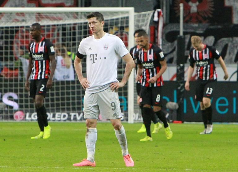 Bayern Munich forward Robert Lewandowski looks shellshocked during their 5-1 thrashing away to frankfurt last November.