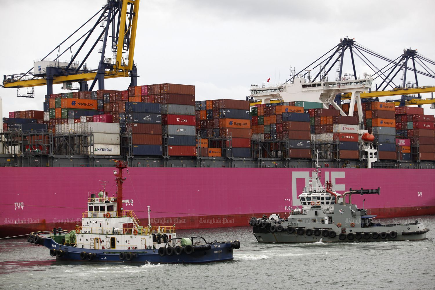 Containers are moved at Laem Chabang port, Chon Buri province, in September 2019. (Bangkok Post file photo)