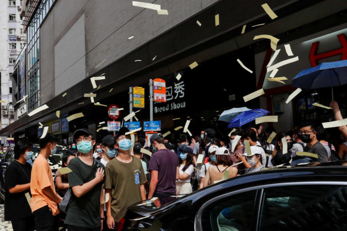 Hong Kong protest slogan illegal, city government says
