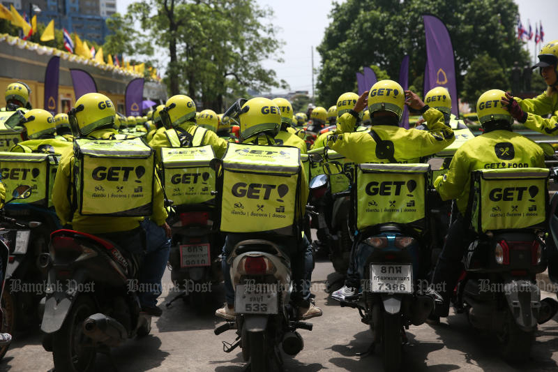 The ride-hailing and delivery service Get will be rebranded as Gojek Thailand in line with its regional peers. (Bangkok Post photo)