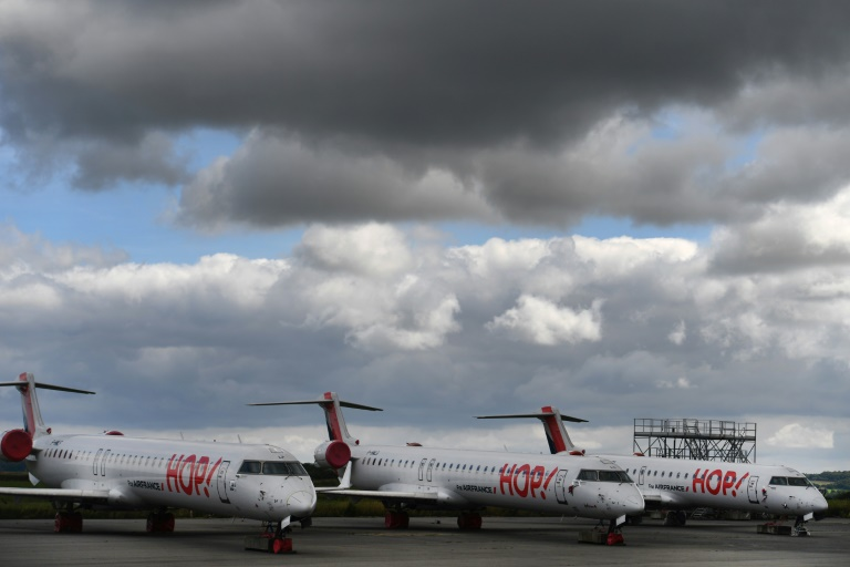 Hop! aircraft are pictured on the tarmac on July 3, 2020 at the Morlaix, France airport.