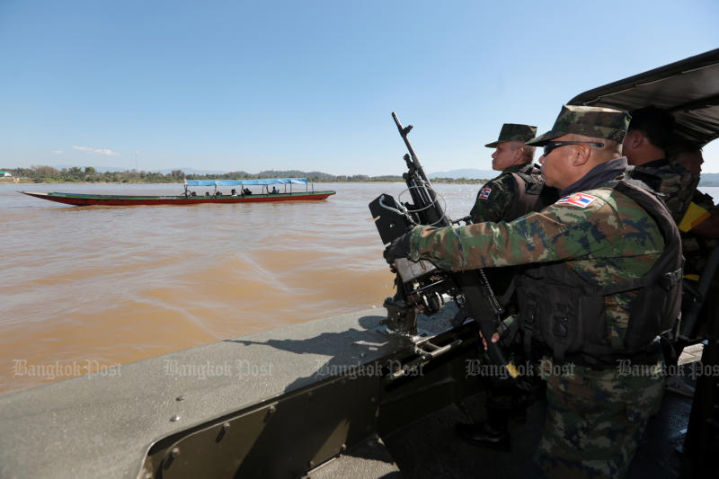 The Royal Thai Navy patrols the Mekong River on Feb 5, 2019 to stamp out drug smuggling from neighbouring countries. (Photo by Chanat Katanyu)