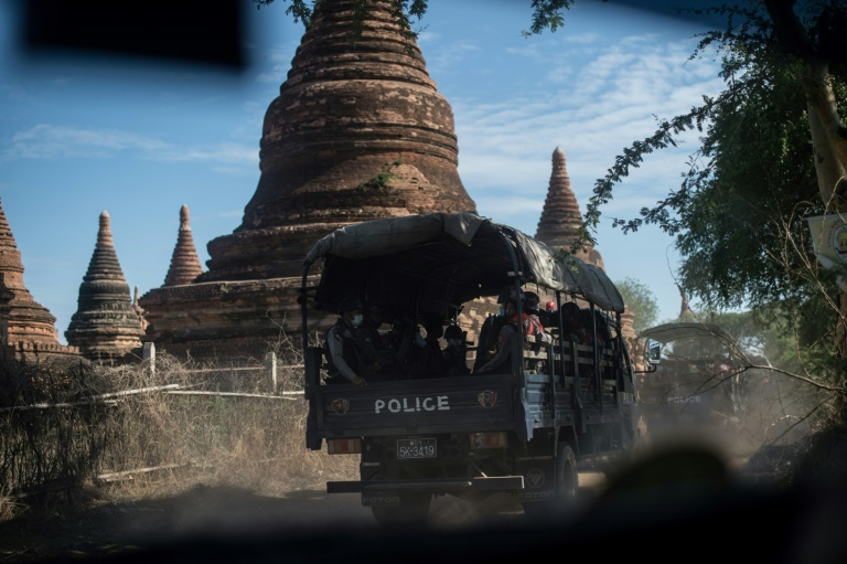 A squad of gun-toting police patrol Myanmar's sacred site of Bagan under the cover of night, taking on plunderers snatching relics from temples forsaken by tourists due to coronavirus restrictions.