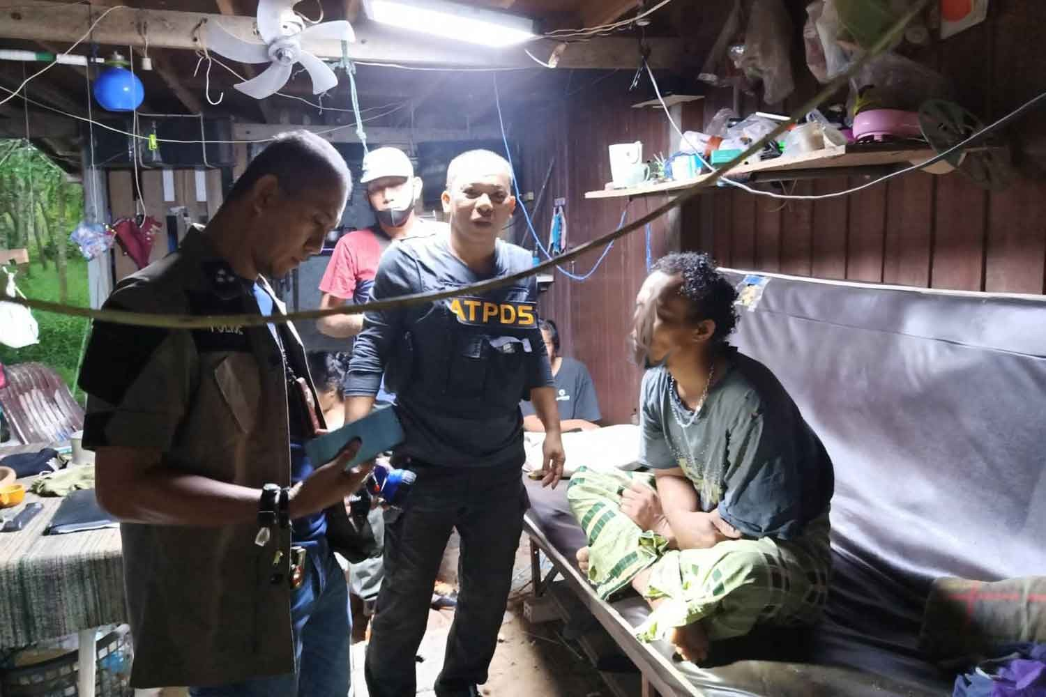 The suspect is arrested by police at his house in Tha Sala district, Nakhon Si Thammarat, and charged with the rape of his stepdaughter. (Police photo)
