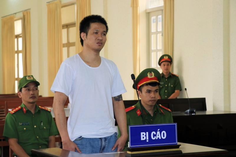 This picture taken and released by the Vietnam News Agency on July 7, 2020 shows Vietnamese national Nguyen Quoc Duc Vuong during his court trial in Vietnam's Lam Dong province. (AFP)