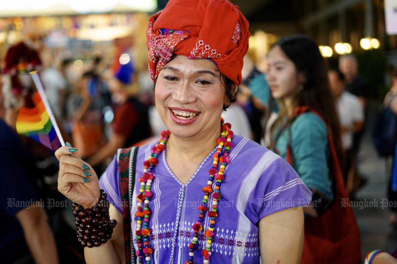 People attend the Chiang Mai Pride event in Chiang Mai on Feb 22, 2020 to promote LGBT rights and raise public awareness of the issue. (Photo by Melalin Mahavongtrakul)