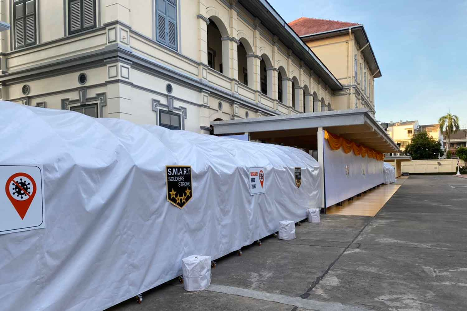 The entrance pathway at army headquarters in Bangkok was santised and covered over before the arrival of the US army chief-of-staff. (Army photo)