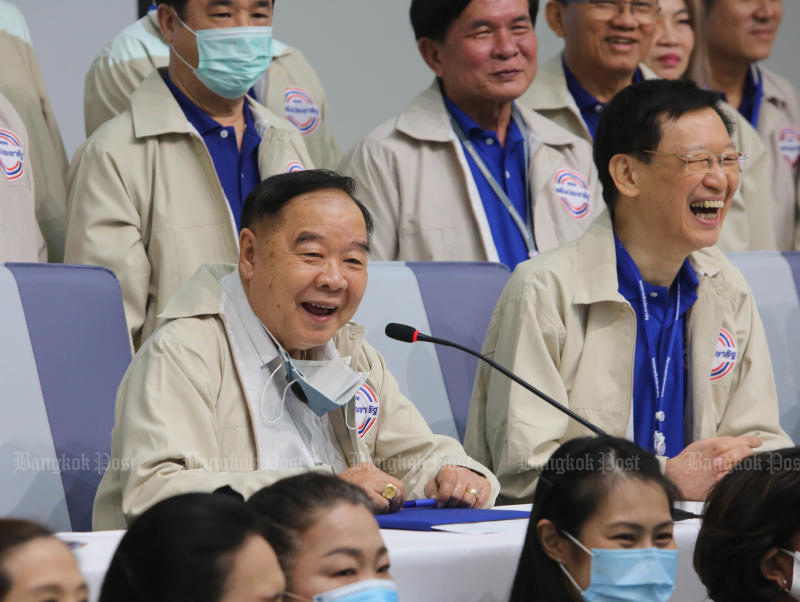 Palang Pracharath Party leader Gen Prawit Wongsuwon smiles during a general meeting at the party headquarters on Friday. (Photo by Pattarapong Chatpattarasill)