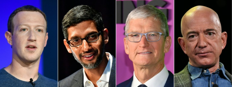 Big tech CEOs (from left) Mark Zuckerberg of Facebook, Sundar Pichai of Google, Tim Cook of Apple and Jeff Bezos of Amazon are scheduled to testify in Congress later this month.