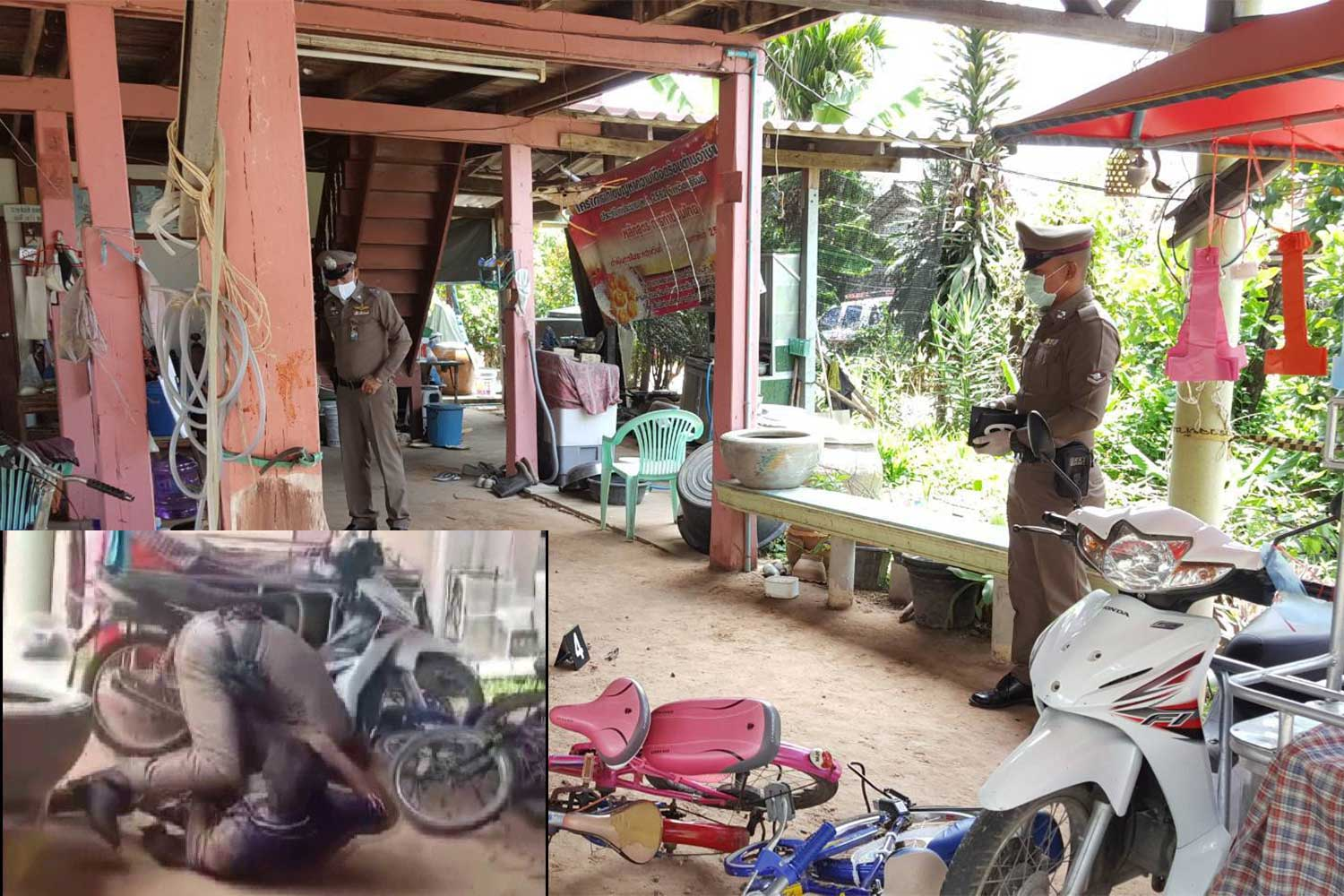 Police at the scene of the shooting at a house in Krasang district, Buri Ram. A police senior sergeant major has been charged with attempted murder after shooting his neighbour over the loud music played by the victim's son. Inset taken from the daughter's video. (Main photo: Surachai Piragsa)