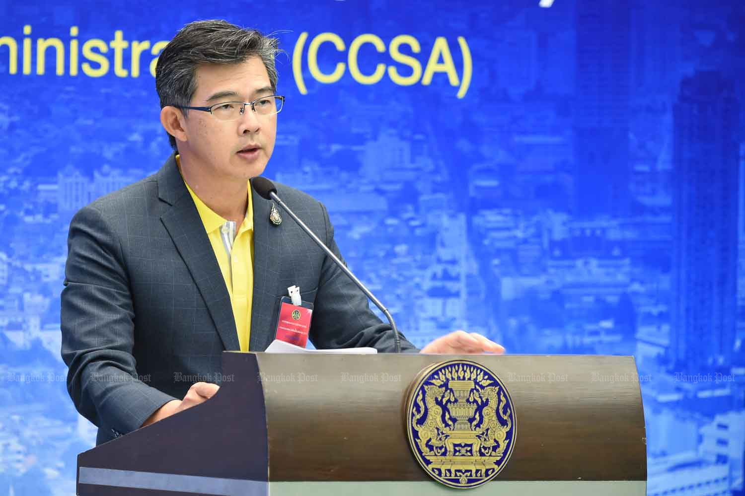 Dr Taweesilp Visanuyothin, spokesman of the Centre for Covid-19 Situation Administration, speaks to reporters at Government House in Bangkok. (CCSA photo)