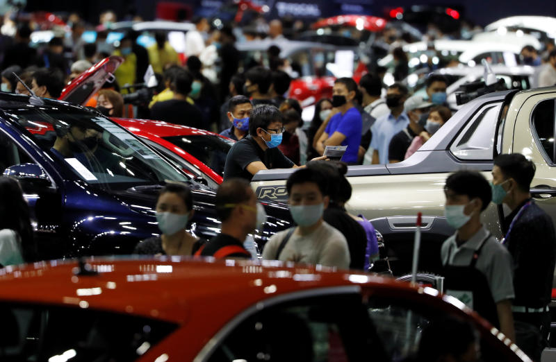A general view during the 41st Bangkok International Motor Show, after the Thai government eased measures to prevent the spread of the coronavirus disease, in Bangkok on Wednesday. (Reuters photo)