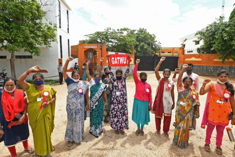 Garment workers of Euro Clothing Company II protest in front of the factory in Mandya district, Karnataka state, souhern India.