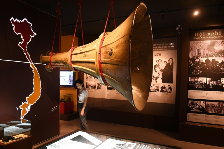 A replica of a loudspeaker which transmitted propaganda messages during the Vietnam War