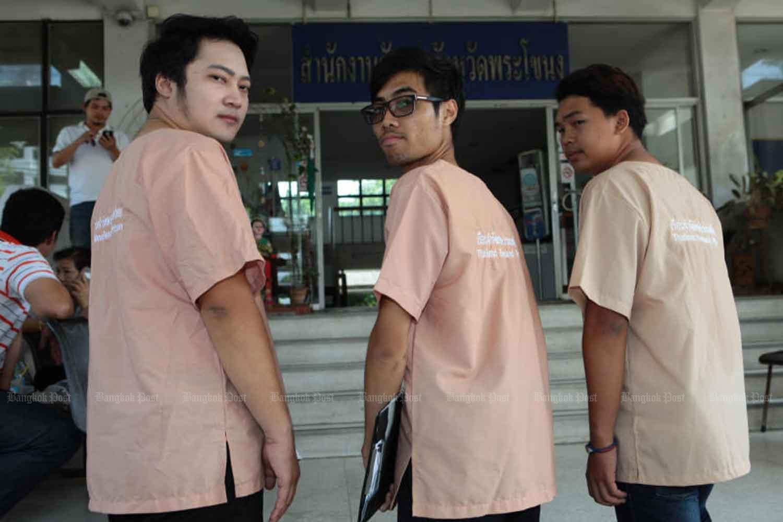 From left, Jirawat Ekakaranuwat, Piyarat Jongthep and Songtham Kaewpanpruek outside the public prosecutors' office in Phra Khanong area of Bangkok in 2016. (File photo: Somchai Poomlard)