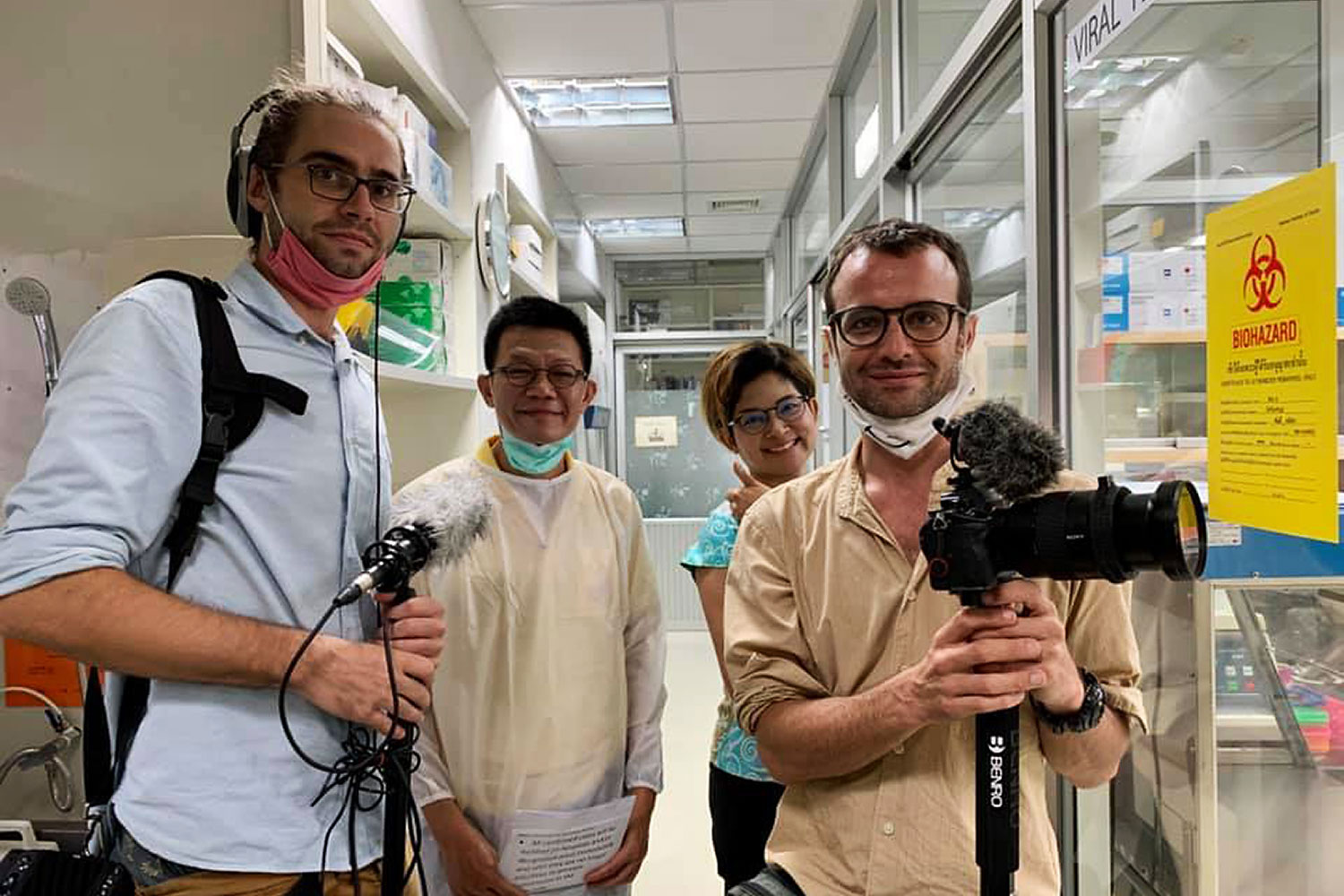 A film crew at the National Institute of Health. The institute director has announced the World Health Organisation is making a documentary about the success of Thailand and New Zealand in containing Covid-19.(Photo: Jackky Ball Facebook)