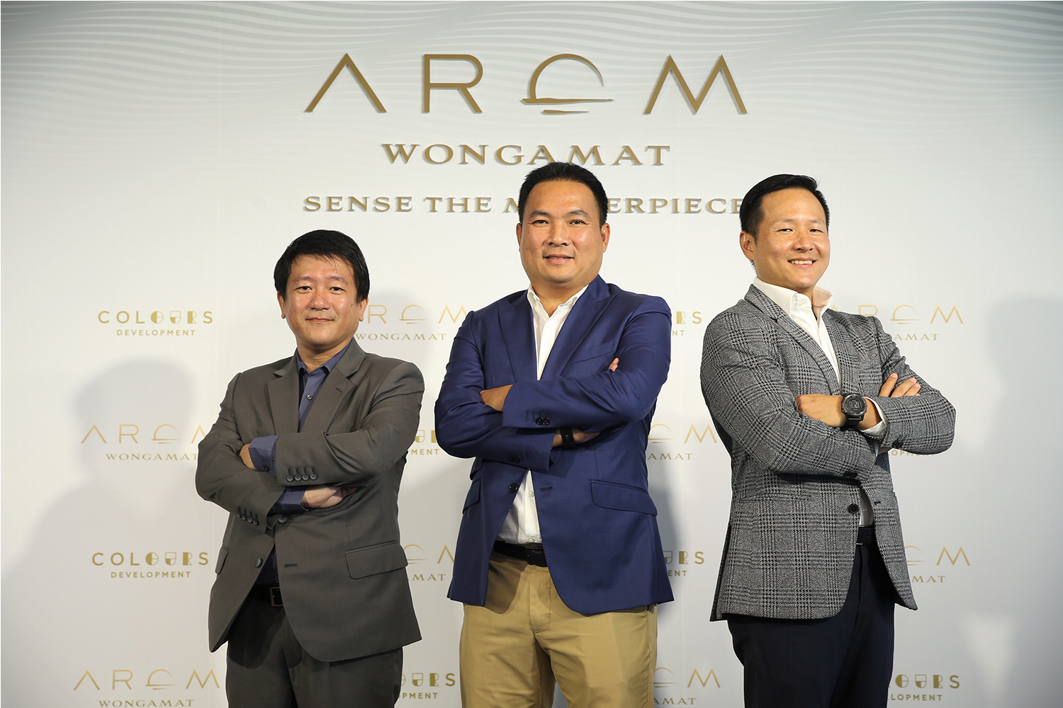 """The three CEOs & Founders of Colours Development Company Limited - Chalermphon Khoncham (Middle), Park Thanaakkarachol (Left), and Sompop Vanichsenee (Right), join together to launch """"AROM WONGAMAT"""", the ultimate super luxurious condominium located in the last prime beachfront location available at Wongamat Beach, Pattaya"""