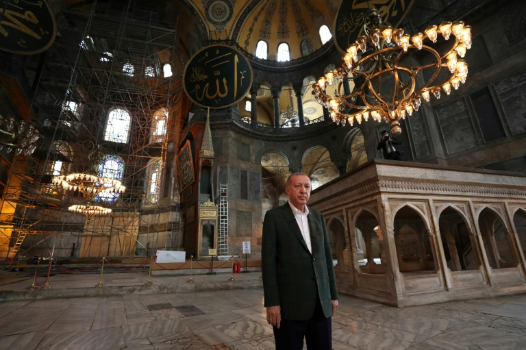Erdogan visited Hagia Sophia this week ahead of its reopening as a mosque.