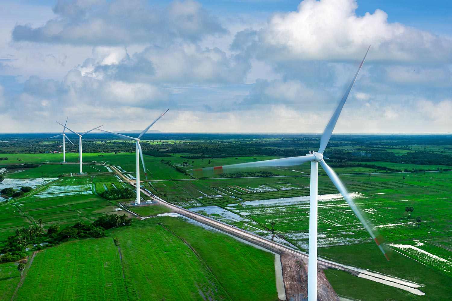 BCPG's wind power facilities in Nakhon Si Thammarat. The company will spend US$840 million to develop a wind farm in southern Laos.