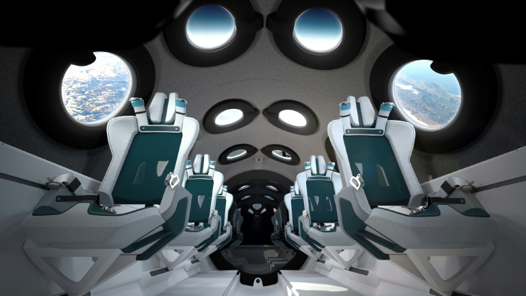 A rendering of the planned interior of the Virgin Galactic spacecraft, published by the company.