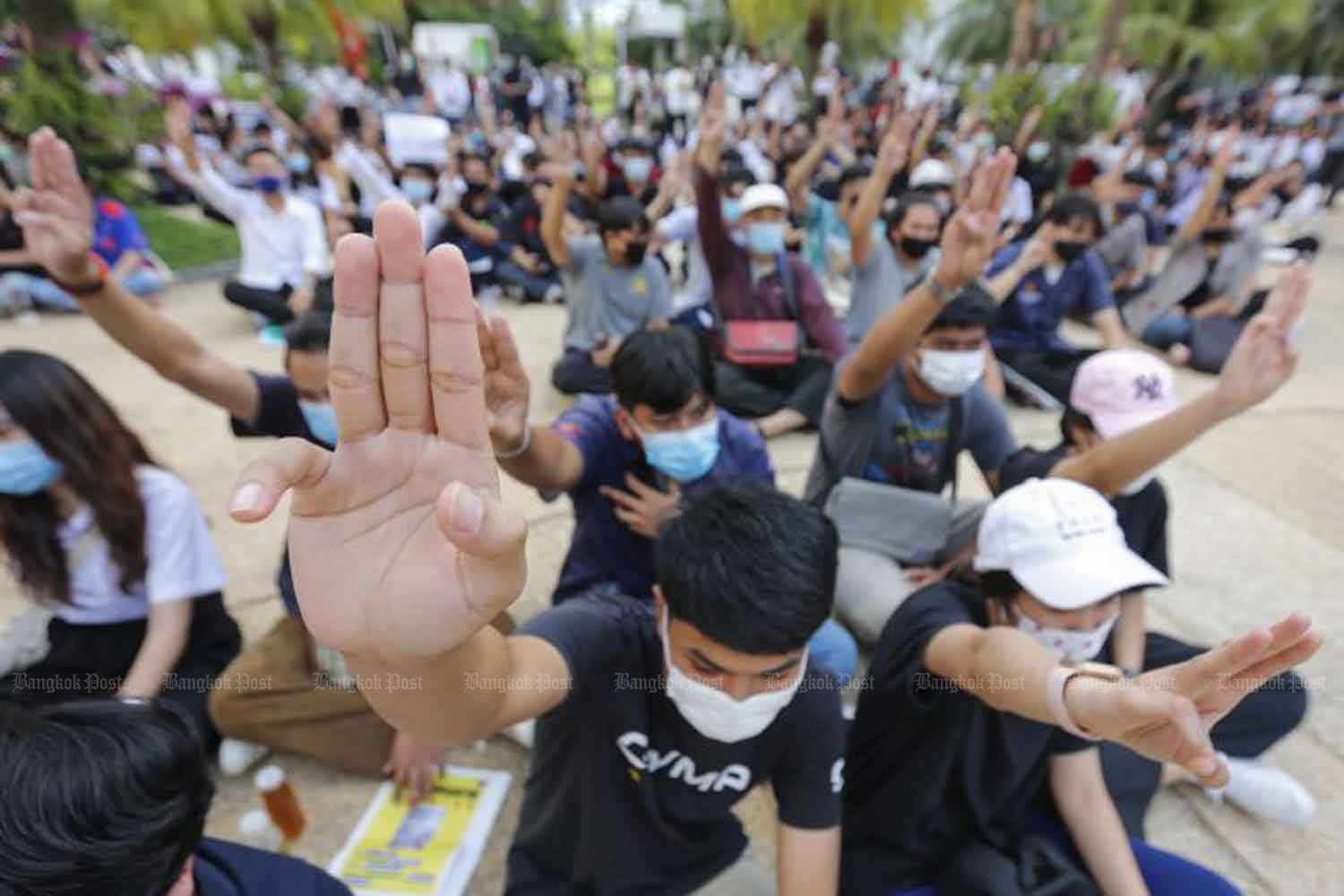 Students from King Mongkut's University of Technology North Bangkok attend a rally at their campus echoing the Free Youth group's and the Student Union of Thailand's calls for the government to dissolve parliament, stop using oppressive laws against political opponents and the amend the charter. (Photo: Pattarapong Chatpattarasill)