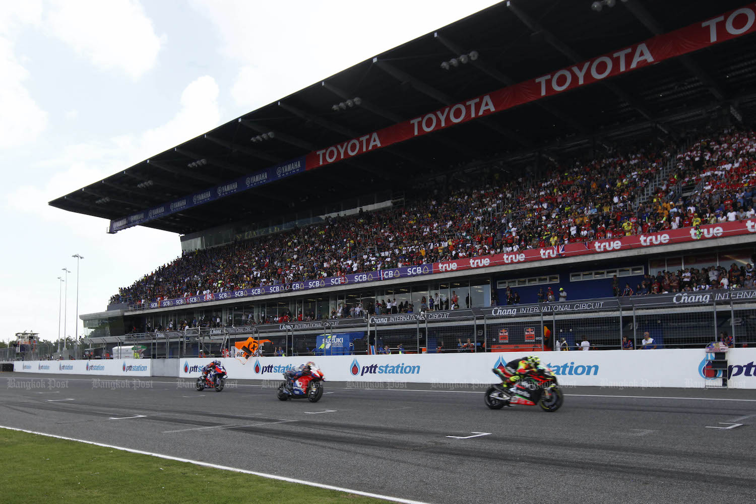 MotoGP competitors race at the Chang International Circuit in Buri Ram in 2019. (Post File Photo)