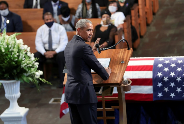 Former US president Barack Obama speaking at the funeral service of John Lewis.