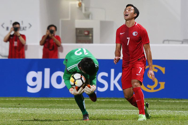Action from the friendly between Hong Kong and Laos at Mong Kok Stadium on Oct 5, 2017. Three Laos players have been banned for life over the 4-0 loss. (South China Morning Post photo)