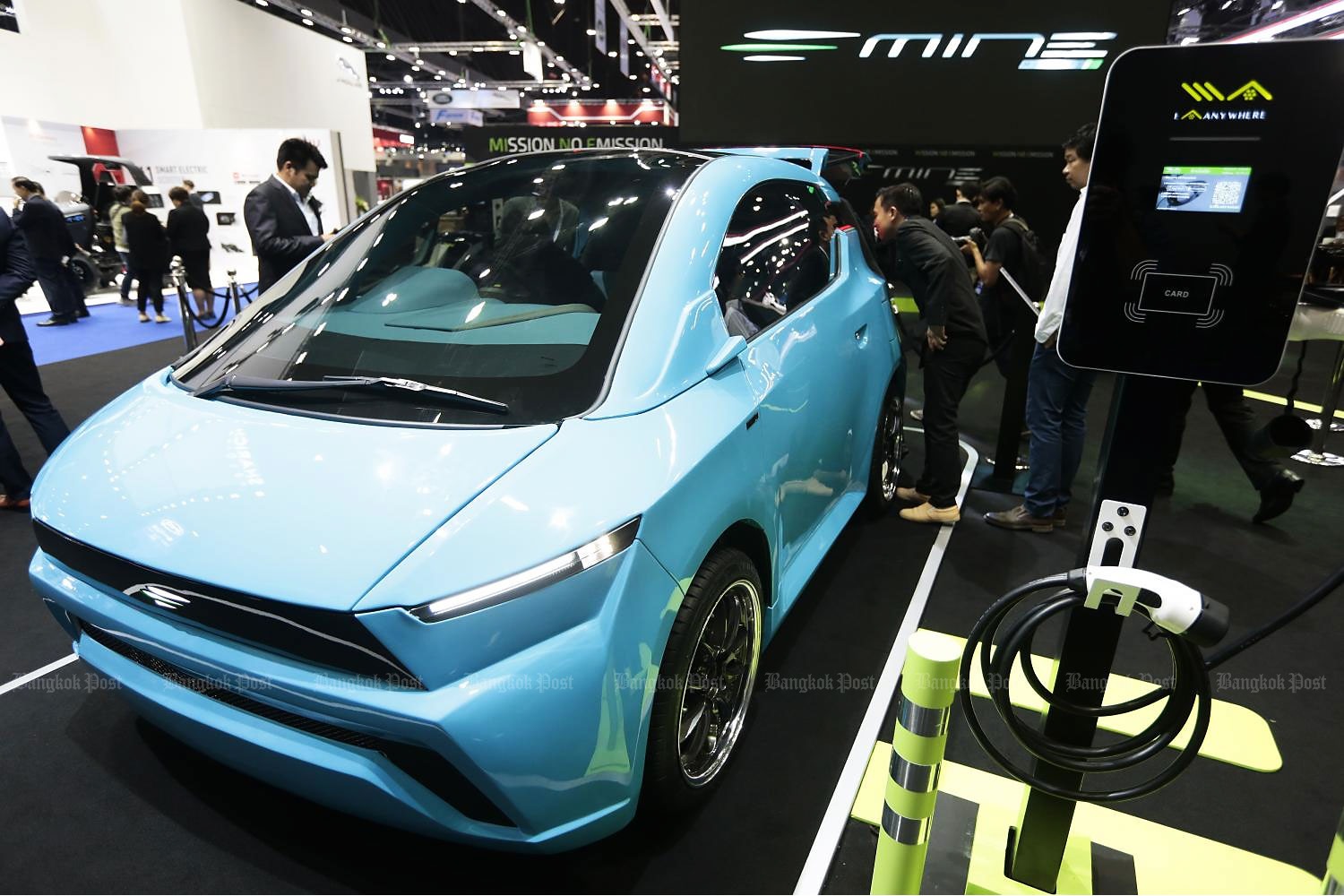 A Mine Mobility car prototype at a Bangkok International Motor Show. EVs were expected to drive EA's revenue and net profit in 2020. (Photo by Patipat Janthong)