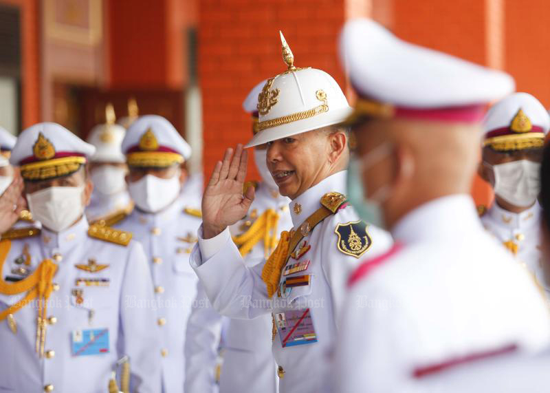 Army chief Gen Apirat Kongsompong salutes other top brass as they attend the 133rd anniversary of the Chulachomklao Royal Military Academy in Muang district of Nakhon Nayok on Wednesday. (Photo by Pattarapong Chatpattarasill)