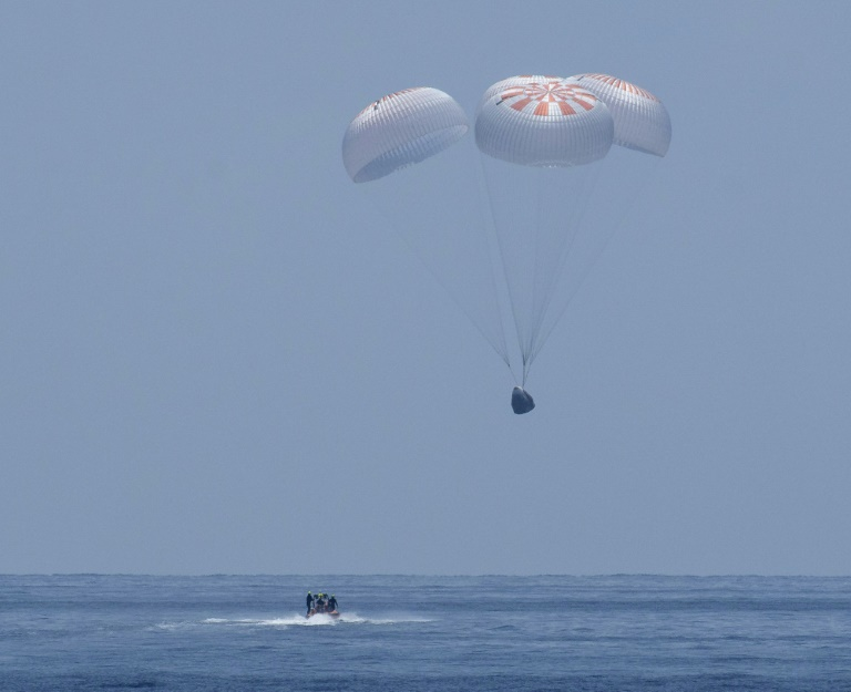 The SpaceX Crew Dragon Endeavour floats down to the Gulf of Mexico on Aug 2, 2020.