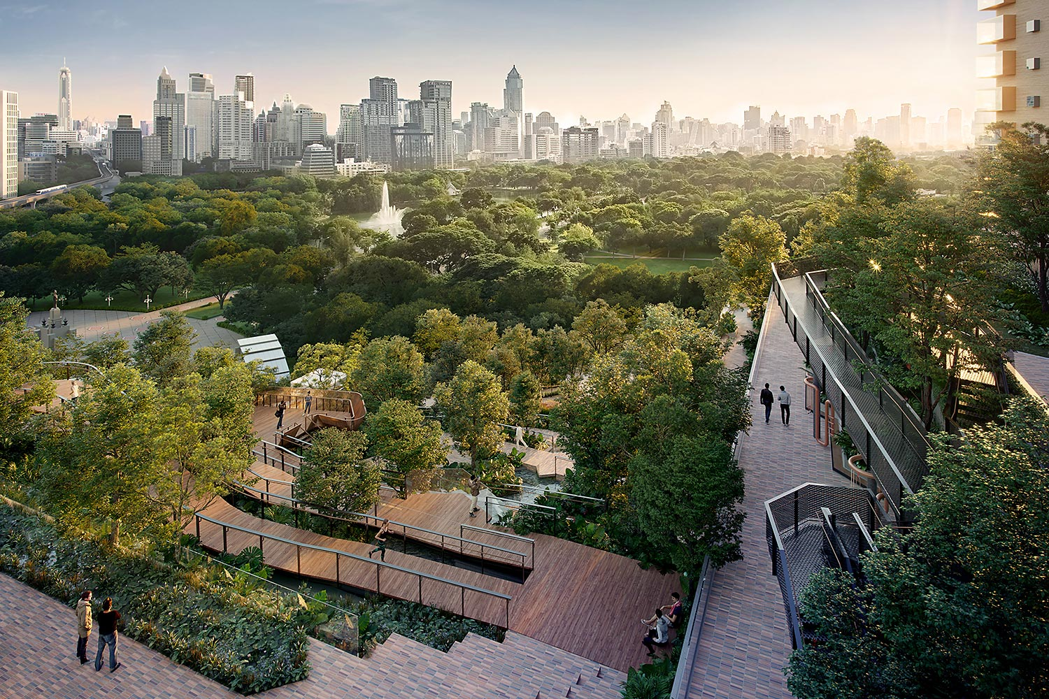 An artist's rendition of Dusit Central Park's rooftop park, which aims to add more green area to the city and become a new public space.