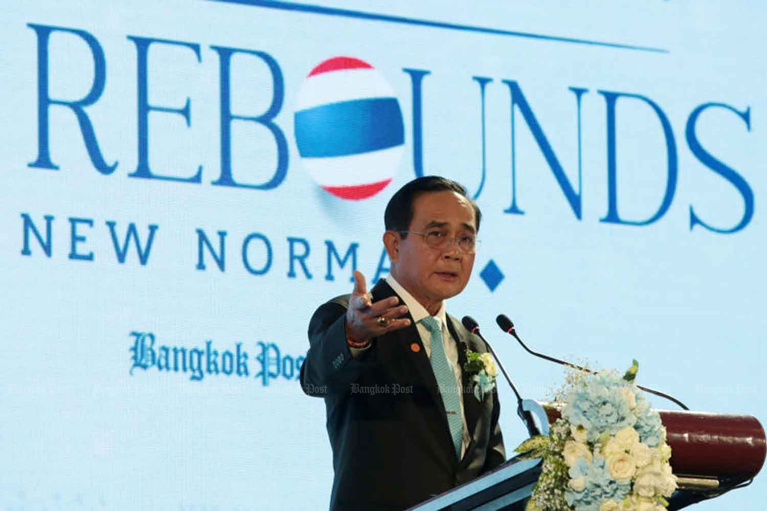 Prime Minister Prayut Chan-o-cha addresses the Bangkok Post Forum 2020 in Bangkok on Thursday. (Photo: Chanat Katanyu)