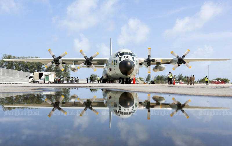 A C-130 plan of the Royal Thai Air Force is seen at Phuket airport on May 21. (Photo by Pattarapong Chatpattarasill)