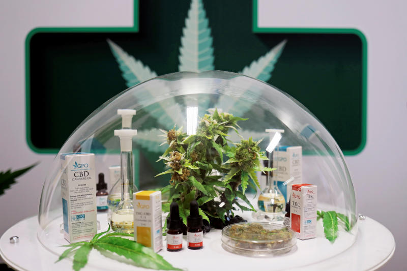 Cannabis oil products made in Thailand are seen on display during the launch of the first official medical cannabis clinic to provide free treatment for the first batch of patients taking part in a monitoring research programme in Bangkok, Jan 6, 2020. (Reuters file photo)