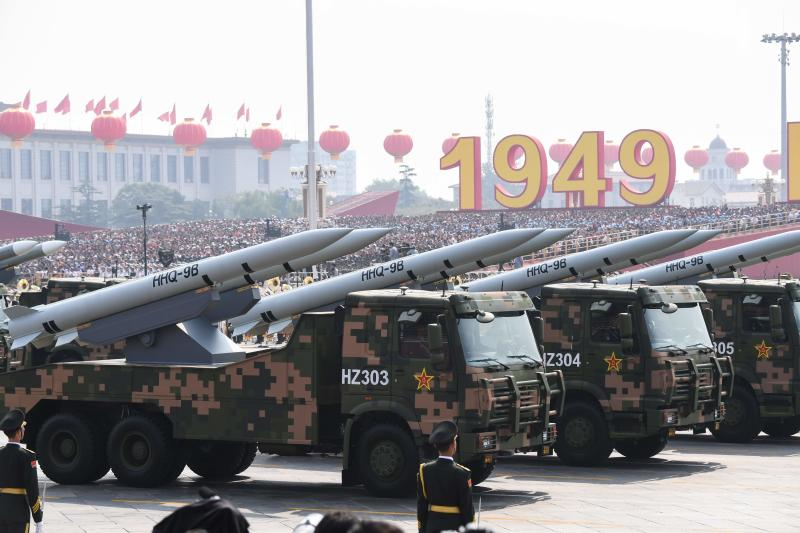 This file photo taken on October 1, 2019 shows military vehicles carrying HHQ-9B surface-to-air missiles participating in a military parade at Tiananmen Square in Beijing to mark the 70th anniversary of the founding of the People's Republic of China. (AFP photo)