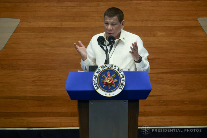 Philippine President Rodrigo Duterte speaks during his State of the Nation Address at the plenary hall of the House of Representatives in Quezon City, Philippines July 27, 2020. (Reuters file photo)