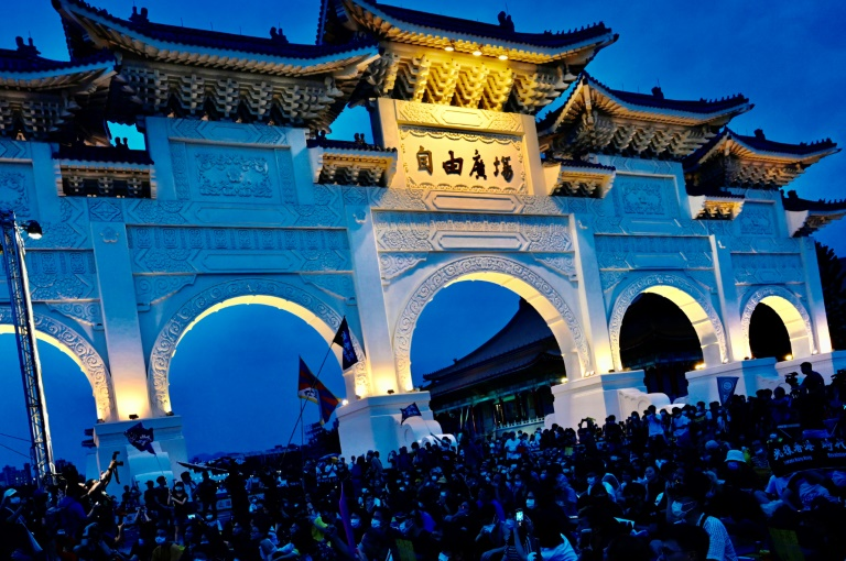 Demonstrators attend a rally to show support for Hong Kong pro-democracy protests in front of the Chiang Kai-shek Memorial Hall in Taipei, in June 2020.