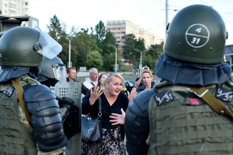 Belarus police face off with opposition supporters after Sunday's disputed presidential election