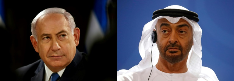 Israeli Prime Minister Benjamin Netanyahu (L) and the UAE ruler, Abu Dhabi's Crown Prince Mohammed bin Zayed.