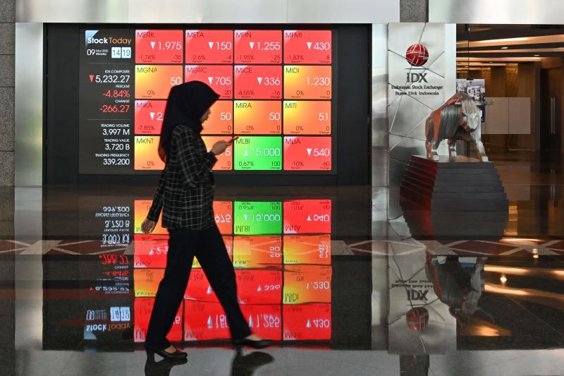 A woman walks past a large screen showing the trading numbers on the Indonesia Stock Exchange (IDX) in Jakarta on March 9, 2020. (AFP file photo)