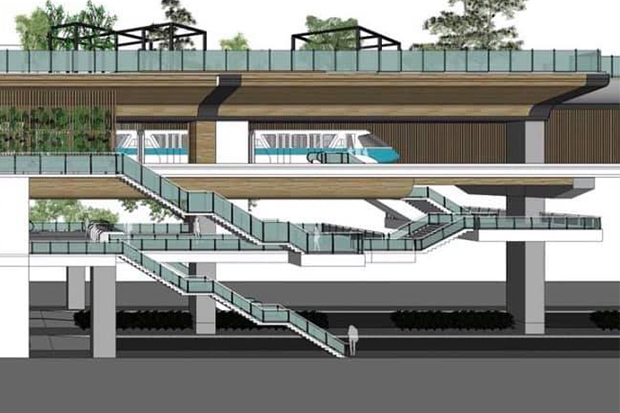 An artist's impression of an elevated station on the monorail line planned for Pattaya. (Photo:  Chaiyot Phupattanapong)