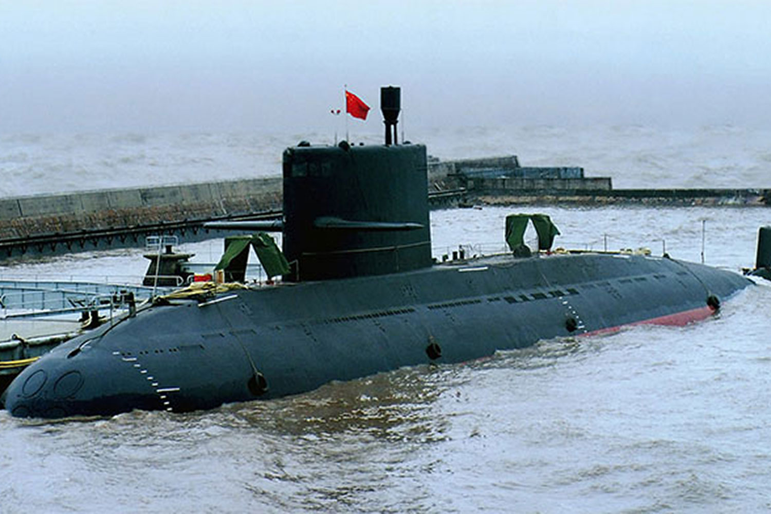 The Chinese-made Yuan-class sub has an air independent propulsion system that allows it to stay submerged for up to three weeks. (Photo from YouTube)