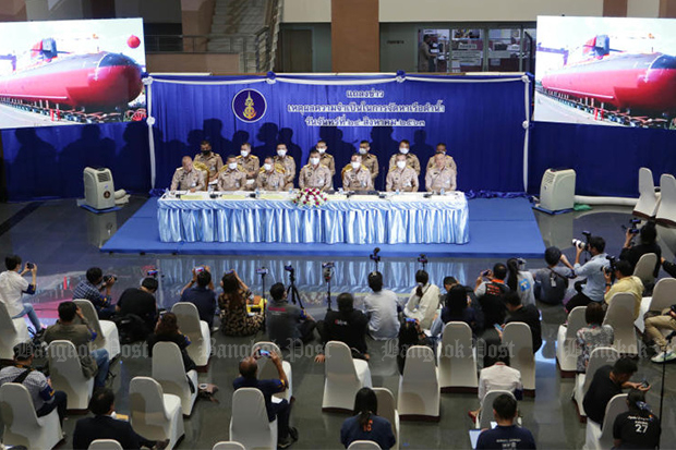 Royal Thai Navy top brass at a press briefing on Monday at their Bangkok headquarters. defending the purchase of two more submarines from China. (Photo: Apichit Jinakul)