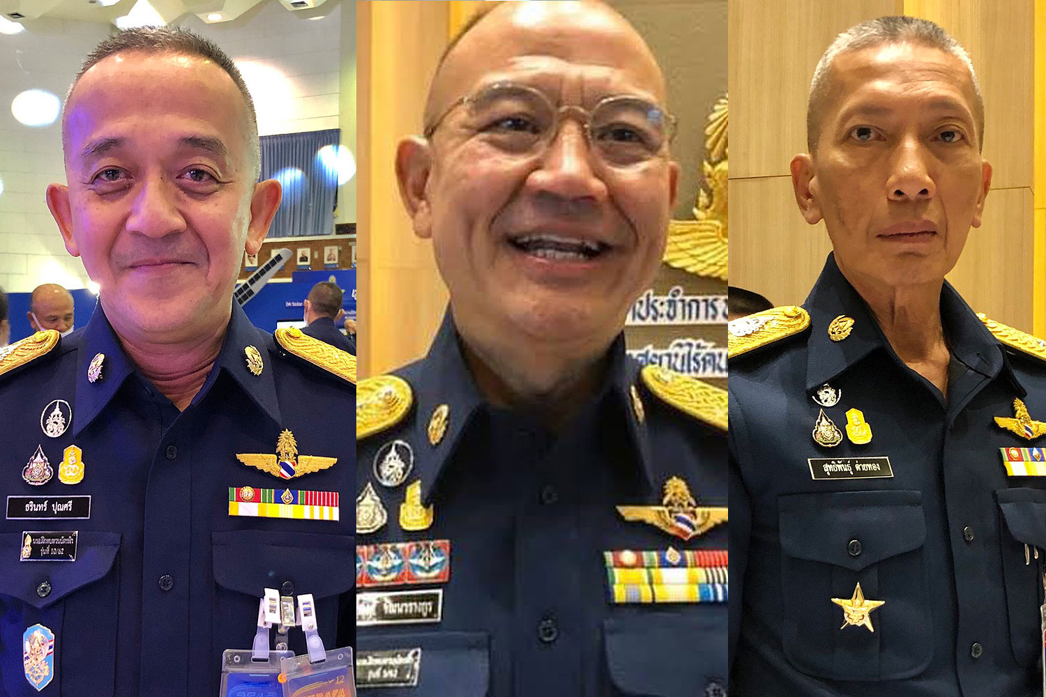 Three new candidates for the post of Royal Thai Air Force commander-in-chief (from left) ACM Tharin Punnasri, ACM Saritpong Wattanawarangkul and ACM Sutthipun Taithong.