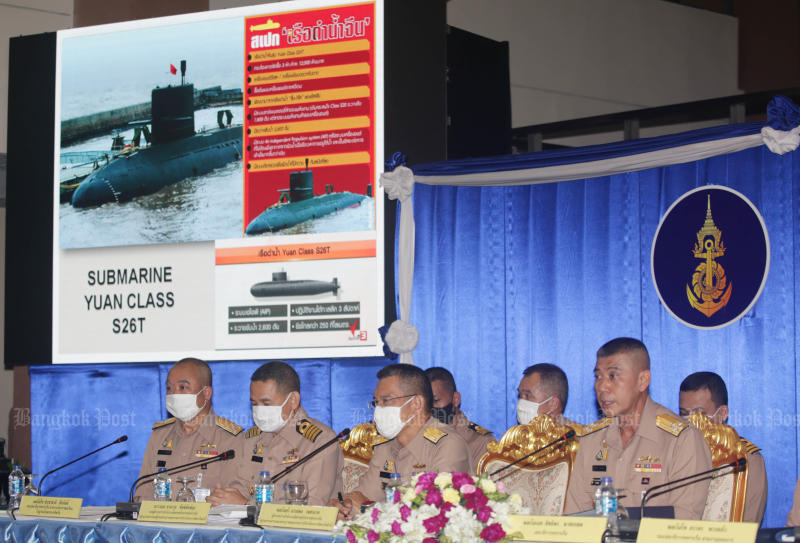 Royal Thai Navy top brass line up to defend their desire to purchase two more submarines from China, at a cost of 22.5 billion baht, at a media conference at RTN headquarters in Bangkok on Aug 24. (Photo: Apichit Jinakul)
