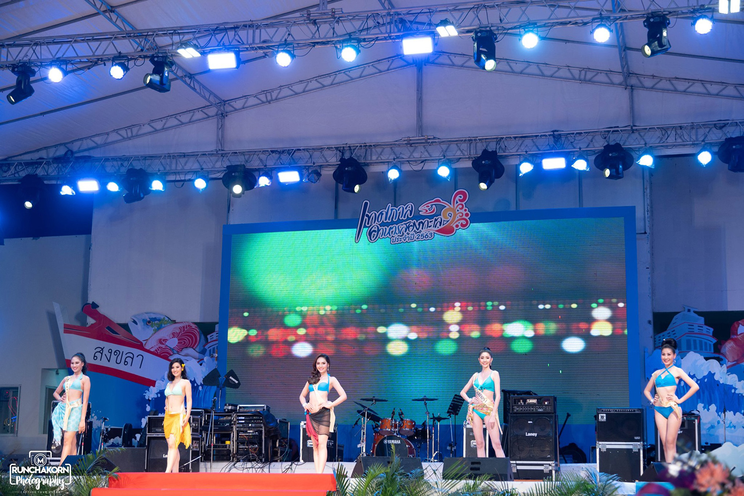 Contestants at the two-day Miss Samila 2020 contest, at Samila beach in Songkhla, which came to a chaotic end on Monday. (Photo: Miss Samila 2020 Facebook)