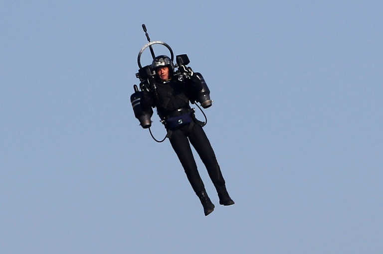 American authorities were probing pilots' reports that they saw a man flying a jetpack, similar to one pictured in this 2018 image from Cannes, France.